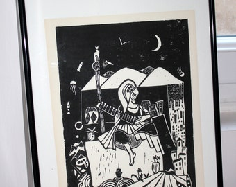 Linocut woman citare - ink print on paper - Poster/poster - Decoration - Handmade