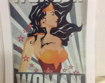 Wonderwoman Poster , Art , Kids , Adults , Collector , Print , Laminated , Bedroom , Decor , Gift , comic
