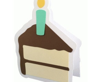 Birthday Cake Slice Card , men, women, teens, kids, free confetti , candle, food, blank card