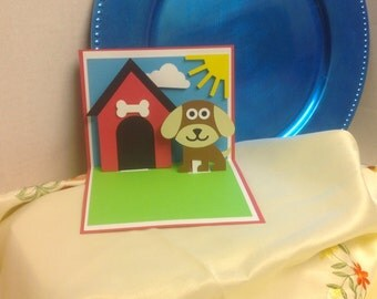 Pop Up Dog Card , Birthday , kids, adults, Paper cut , family , friends, co-workers , Any Occasion , blank inside