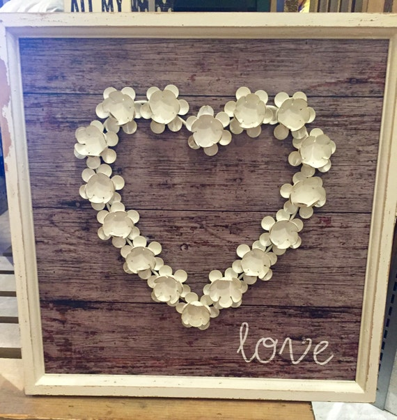 love heart metal flower wall decor by everything4weddings on etsy. Black Bedroom Furniture Sets. Home Design Ideas