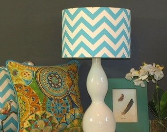 Australian Made Lampshade, Chevron Drum 31x21cm, Available in 5 Colours and 2 Fittings, Made to Order 1-2 weeks