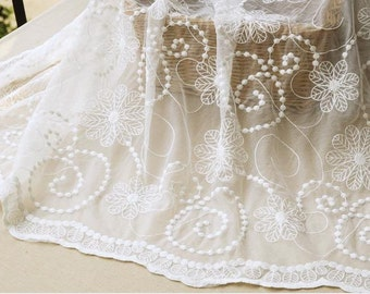 white cotton lace tulle flower 4.5m