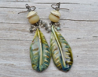 Long leaf earrings  ScorchedEarth - DayLilyStudio