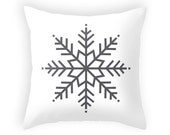 White Christmas pillow Snowflake pillow Monochrome Christmas decor Xmas pillow Christmas decoration White Christmas cushion Xmas throw