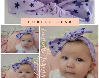 The Riley Baby Knot Headband  - Lavender/Purple Stars