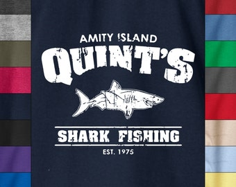 JAWS QUINT'S AMITY Island Funny Fishing Soft Ringspun Cotton T-Shirt Shark Week