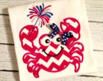 SAMPLE SALE: Girls or Boys 4th of July Crab Applique on Tshirt or Bodysuit, Free Shipping