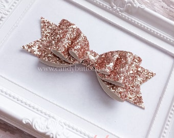 Extra Large Rose Gold Baby Hairbows, Rose Gold Glitter Baby Bows, New Years Hairclip, Rose Gold Glitter Bows, Glitter Felt Bows Felt Hairbow