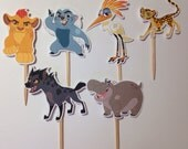 Lion Guard Cupcakes Topper, Kion Lion Guard Party, Kion, Bunga, Fuli, Beshte and Ono Birthday Party Cupcake Toppers