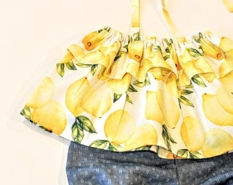 Summer Picnic Collection:  Lemon Ruffle Swing Top with Halter Straps with a Chambray Bloomers Set