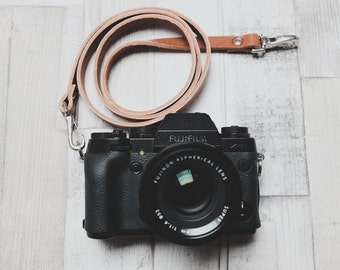 Leather Camera Strap with Quick Release Snaps | Tan Leather Neck Strap | Thin Leather Camera Strap | DSLR Camera Strap