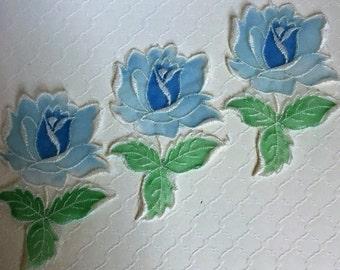 Vintage Organza Rose Bud Applique in Blue - Set of 3
