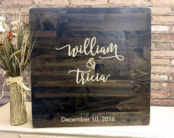 Rustic Wedding Guest Book, Carved Guest Book Alternative, Wood Wedding Sign, Guest Book