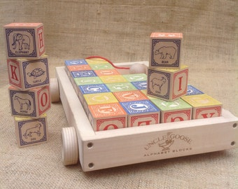 Uncle Goose Alphabet Blocks with Wagon