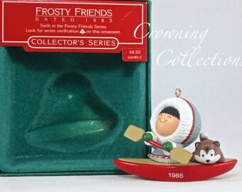 1985 Hallmark Frosty Friends Keepsake Ornament 6th in Series Eskimo Kayak Husky Dog Christmas Vintage