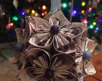 "Handmade ""Purple Butterfly Wings"" kusudama Flower Origami Ornament"