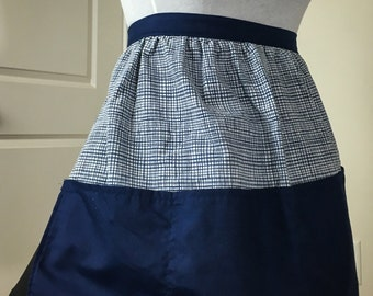 Navy Blue Geometric Half Apron with Pockets
