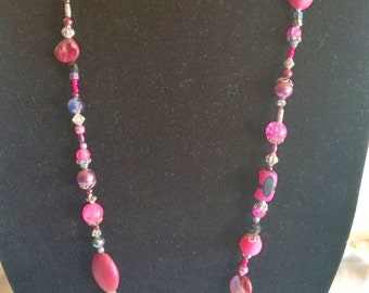 NECKLACE- beaded; hot pink, faceted, shiny, long