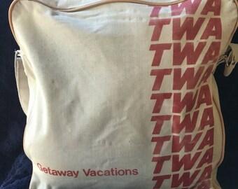 Vintage TWA flight bag 1970