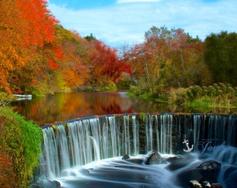 Limited Edition ~ Shannock Falls ~Shannock, Rhode Island, Autumn, Fall, Foliage, Waterfall, Fine Art Canvas, New England