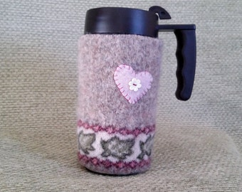 Felted wool coffee cozy from recycled 100% wool sweater