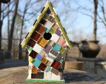 Mosaic Birdhouse, Jellybeans, Colored A Frame Cabin, mixed media mosaic made of glass tile squares, glass beads, and sequins.