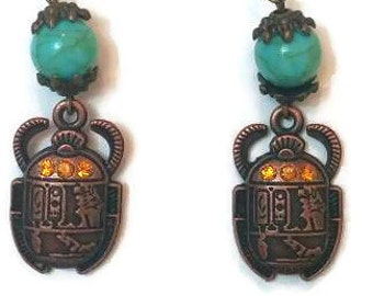 Ancient Earrings, Ancient Egypt Earrings, Egyptian Earrings, Ancient Egypt Jewelry, Scarab Earrings, Egyptian Scarab Jewelry, Scarab Jewelry