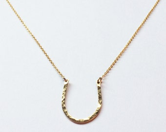 Magnolia Necklace // Gold Fill // Gold Necklace, Horseshoe Necklace, Hand Hammered