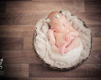 Ivory Rose Rustic Woodland Halo Flower Crown Tieback Newborn Baby Photography Photo Prop