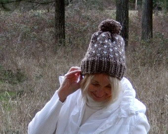Fair Isle Knit Slouchy Pom Pom Hat in Taupe and Cream