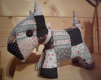 SALE 25% OFF   Patchwork fabric Scottie Dog Soft Toy