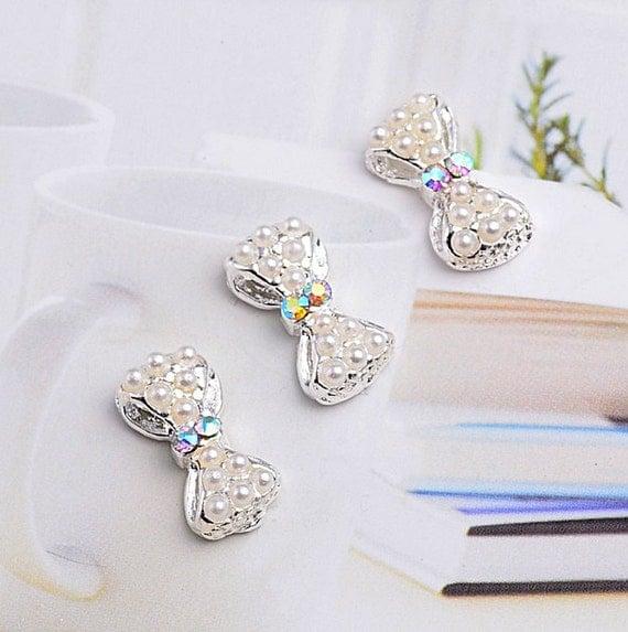 Pearl Nail Bow,3D Metal Alloy diy Nail Art Decoration ...