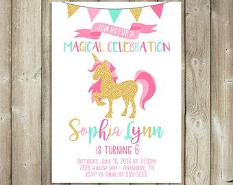 unicorn birthday invitation   etsy, Birthday invitations