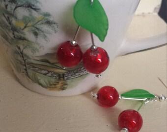 Hand made Rockabilly Glass Cherry Earrings
