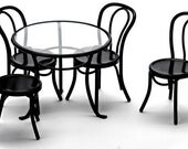 1:12 Scale Miniature 5-Pc. Black Patio Table Set