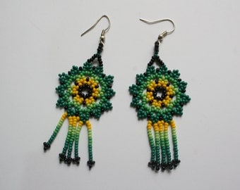Embroidered earrings - Huichol style  - chakira- green tones