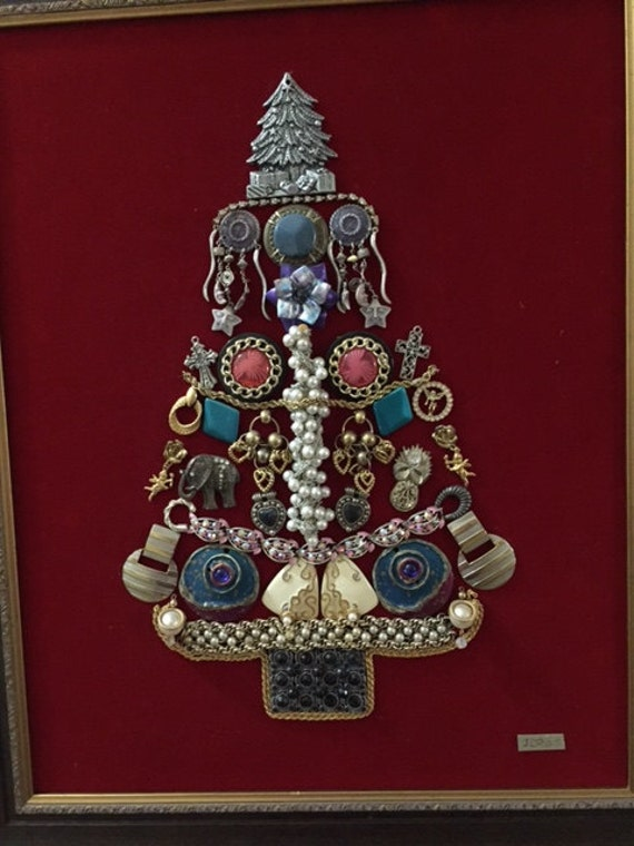 Vintage Jewelry Christmas Tree Art