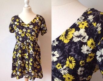 Vintage 90s Black Tea Dress, Yellow Flower Dress, Boho, Retro Mini Dress, Size 12 UK Medium Ladies Clothing