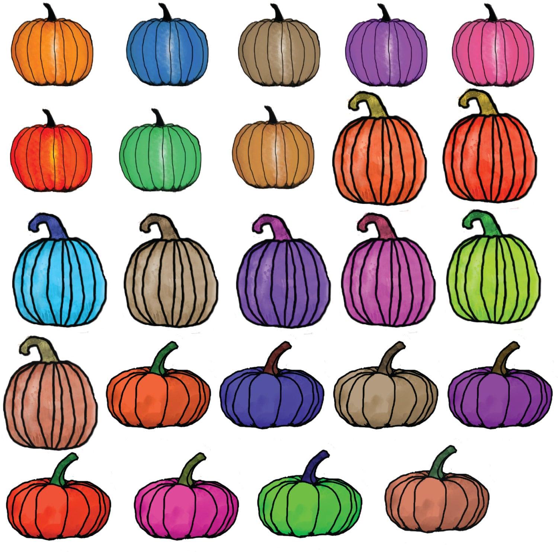 Halloween Pumpkin Colorful Clip Art