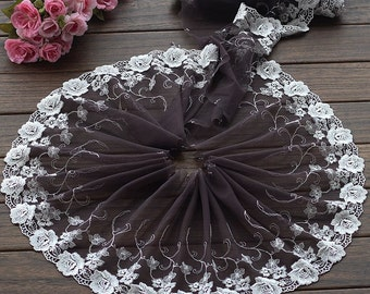High Quality Floral Embroidered Lace Trim  Tulle Lace Trim 8.66 Inches Wide 2 yards X0156