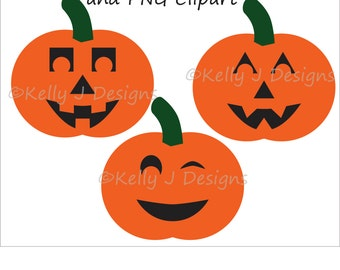 Pumpkin Faces DXF Cut File and PNG Clip Art, Jack-o-Lantern DXF Cut Files and Clipart