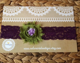Eggplant & Forest Green Lace Headband