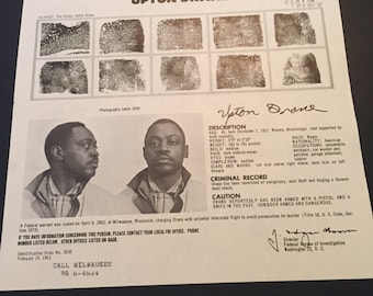 Vintage FBI Wanted Poster / FBI Poster / Wanted Poster / Wanted By FBI  / Upton Drane