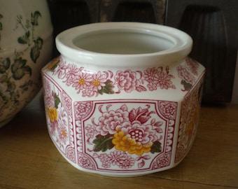 "Ridgway ""Canterbury"" Ironstone Sugar Bowl Vintage Red Transferware Staffordshire England"