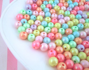 100 Pastel Iridescent Round Beads Fairy Kei Beads 8mm Beads #285