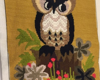 """Avon Creative Needlecraft Owl On Stump with Flowers 1976 incomplete canvas mostly finished cut size 18"""" x 22"""""""