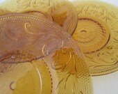 Vintage Amber Pressed Glass Plates Saucers Appetizer Dishes Brockway Glass Co.