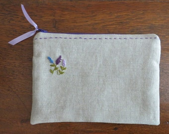 Linen pouch, hand embroidered, zip pouch, zipper pouch, cosmetic bag, natural linen with embroidered flowers, purple, lavender, blue