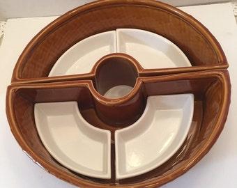 Vintage Bamboo Design Lazy Susan Serving Dish